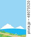 夏素材(縦)-ひまわりと海の見える風景6 48073520