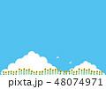 夏素材(横)- ひまわり,入道雲1 48074971