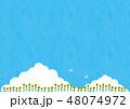 夏素材(横)- ひまわり,入道雲1テク 48074972