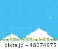 夏素材(横)- ひまわり,入道雲2テク 48074975