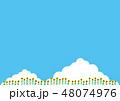 夏素材(横)- ひまわり,入道雲3 48074976