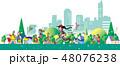 人々 ウォーキング ジョギングのイラスト 48076238