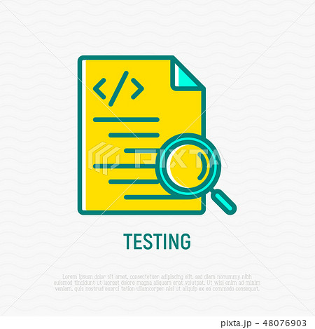 Testing software: code with magnifier line icon 48076903