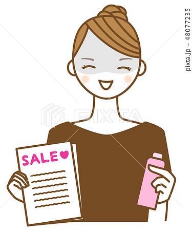 セールのチラシと商品を持って勧誘する若い女性のイラスト 48077235