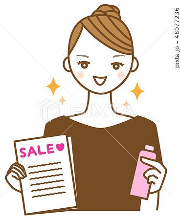 セールのチラシと商品を持って勧誘する若い女性のイラスト 48077236