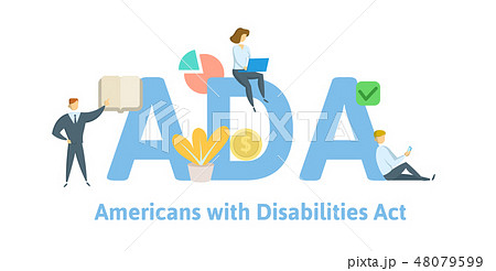 ADA, Americans with Disabilities Act. Concept with keywords, letters and icons. Flat vector 48079599