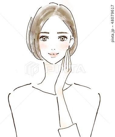 女性 イラスト 幸せ 美容 健康的 スキンケア 美魔女 48079617