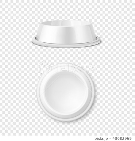 Vector Realistic White Blank Plastic or Metal Pet Bowl Icon Set, Mock-up Closeup Isolated on 48082969