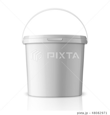 Vector Realistic 3d White Plastic Bucket for Food Products, Paint, Foodstuff, Adhesives, Sealants 48082971