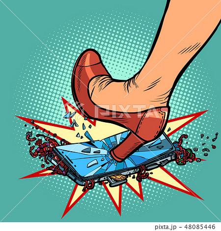 woman heel smashes phone screen 48085446