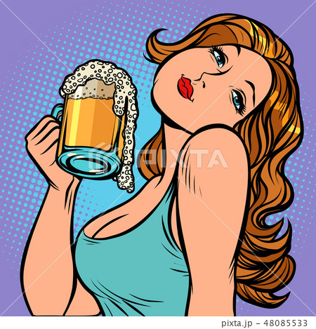 Woman with a mug of beer in profile 48085533