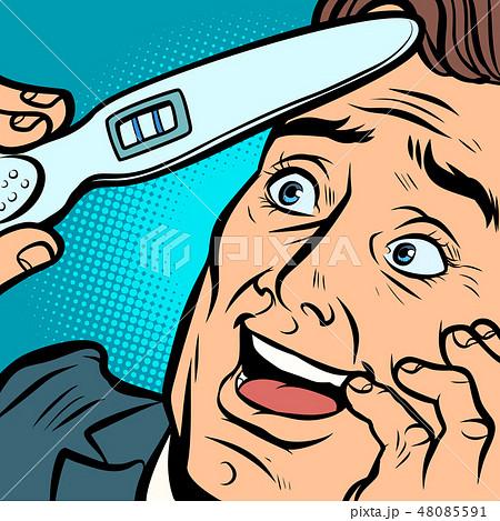 pregnancy test. joyful man husband father 48085591
