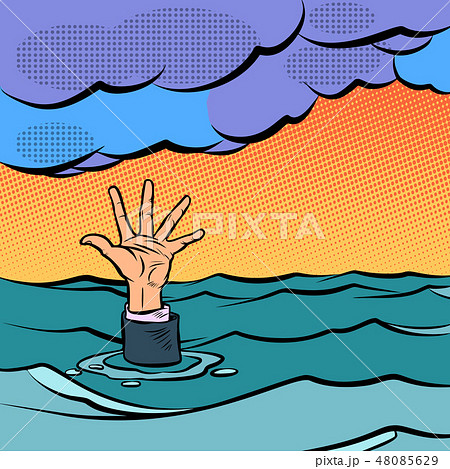 hand sinking in the sea 48085629
