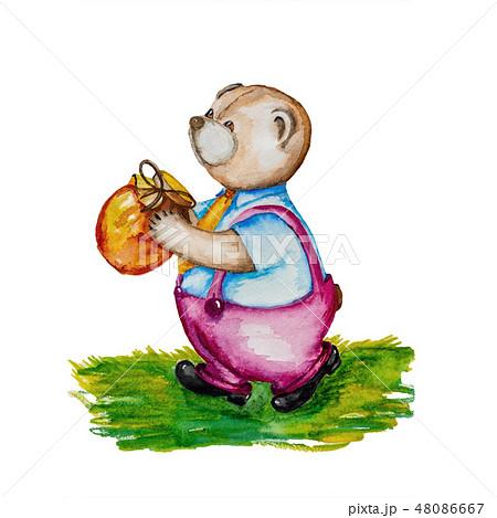Bear in crimson pants carries a jar of honey. 48086667