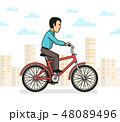 自転車 都市 男のイラスト 48089496