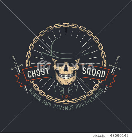 Skull wearing hat in chains 48090145
