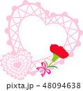 母の日メッセージカード ハートのピンク カーネーション 48094638