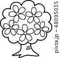 桜木 満開 花 ぬり絵 48095035
