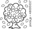 桜木 満開 花吹雪 ぬり絵 48095037