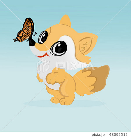 the little Fox with a butterfly 48095515
