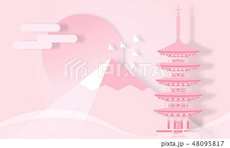 室生寺 五重塔 奈良県 ペーパークラフト風 48095817