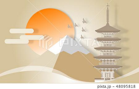 室生寺 五重塔 奈良県 ペーパークラフト風 48095818