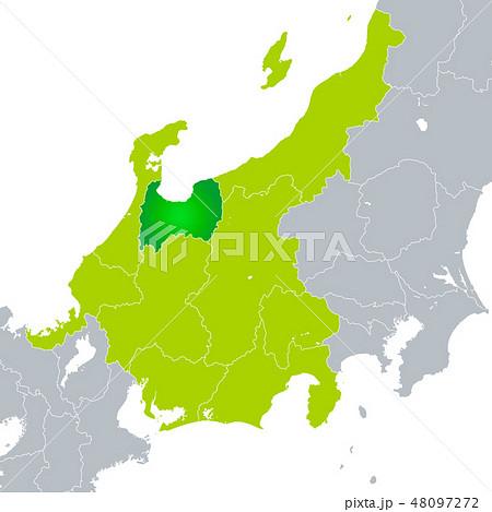 富山県地図と中部地方のイラスト素材 48097272 Pixta