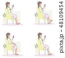 女性 スマホ スマートフォンのイラスト 48109454