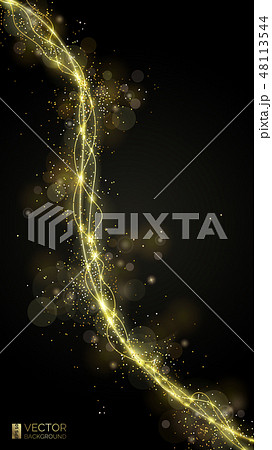 Way of gold dust. Wave golden sparkling confetti 48113544