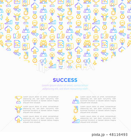 Success concept with thin line icons 48116493