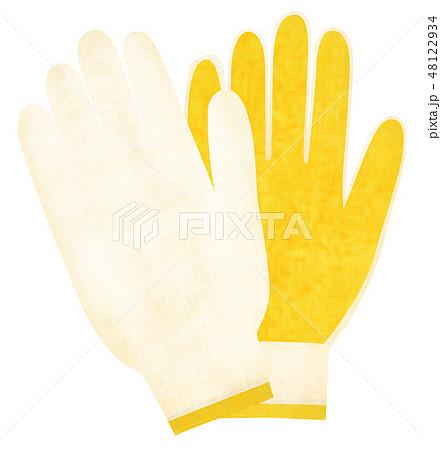 手描き 軍手 手袋 48122934