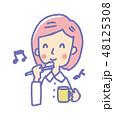 女性 歯磨き 鼻歌のイラスト 48125308