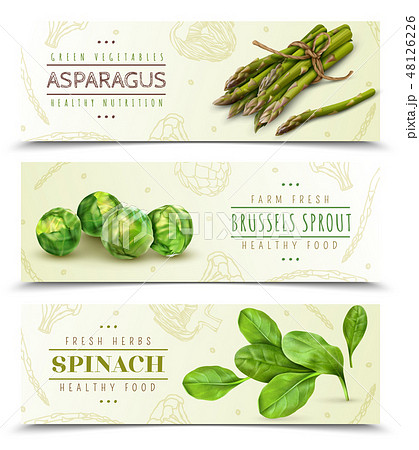 Green Vegetables Realistic Banners  48126226