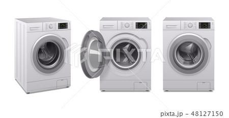 Washing Machine Realistic Icon Set 48127150