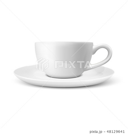 Realistic Vector 3d Glossy Blank White Coffee Tea Cup, Mug Icon Closeup Isolated on White Background 48129641