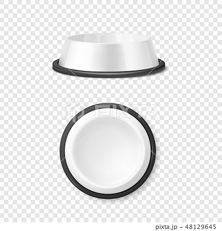 Vector Realistic White Blank Plastic or Metal Pet Bowl Icon Set, Mock-up Closeup Isolated on 48129645