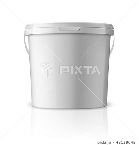 Vector Realistic 3d White Plastic Bucket for Food Products, Paint, Foodstuff, Adhesives, Sealants 48129648