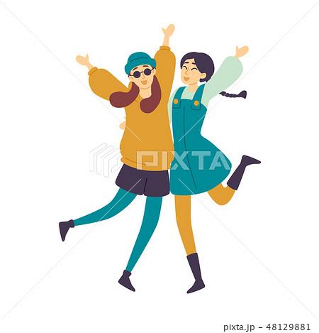 Dancing people, female dancers Asian girls having fun. 48129881