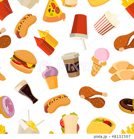 Fast food vector seamless pattern 48132507