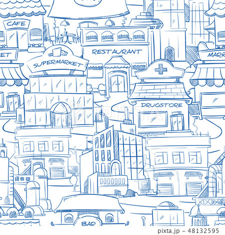 City with hand drawn buildings vector doodle urban panorama seamless background 48132595