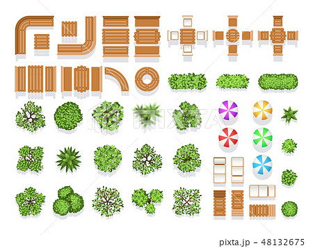 Top view landscaping architecture city park plan vector symbols, wooden benches and trees 48132675
