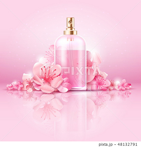 Skin care cosmetic vector concept. cosmetic with vitamin and collagen in bottle and sakura flowers 48132791