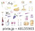 手描き水彩イラストセット ワイン イタリアン  48135903