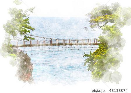 城ケ崎海岸の吊り橋 水彩画風 48138374