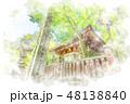 高尾山薬王院 水彩画風 48138840
