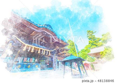 高尾山薬王院 水彩画風 48138846