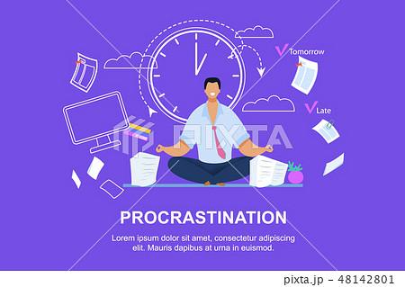 Office Worker Meditating Flat Vector Illustration 48142801