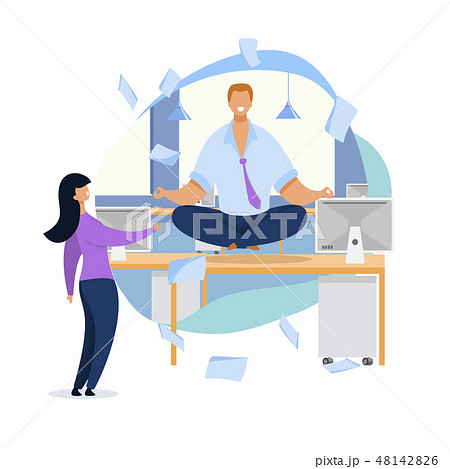 Office Worker Meditating Flat Vector Illustration 48142826