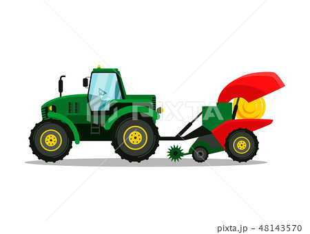 Tractor with Plow Side View Vector Illustration 48143570