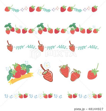 苺 フレーム いちご イチゴ 春 イラスト 48144927